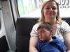 Cooper Napping in the Van
